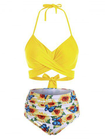 Flower Bird Pineapple Halter Criss Cross Tummy Control Bikini Swimwear