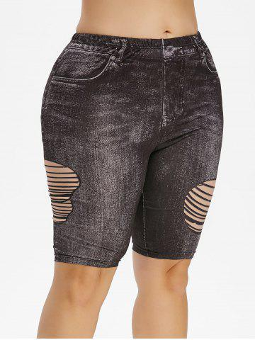 Plus Size 3D Destroyed Jean Print Short Leggings