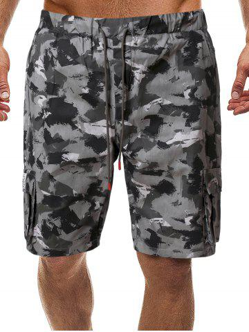 Camo Drawstring Shorts with Pockets - ACU CAMOUFLAGE - M