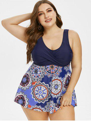 Plus Size Crossover Tribal Print One-piece Swimsuit