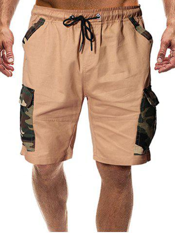 Camouflage Print Flap Pocket Casual Shorts - KHAKI - 2XL