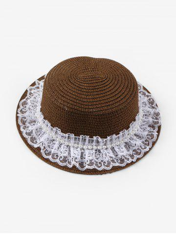 Beach Faux Pearl Lace Straw Hat