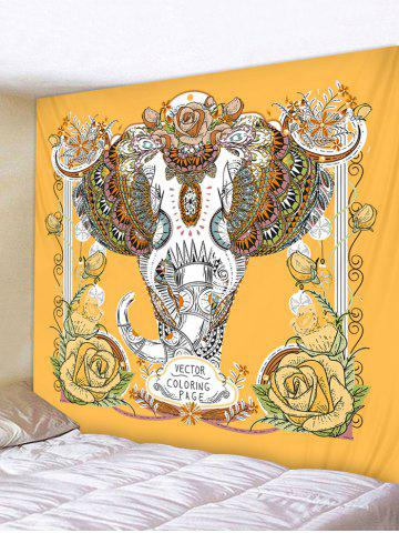 Elephant Bohemian Printing Wall Tapestry - BRIGHT YELLOW - W91 X L71 INCH