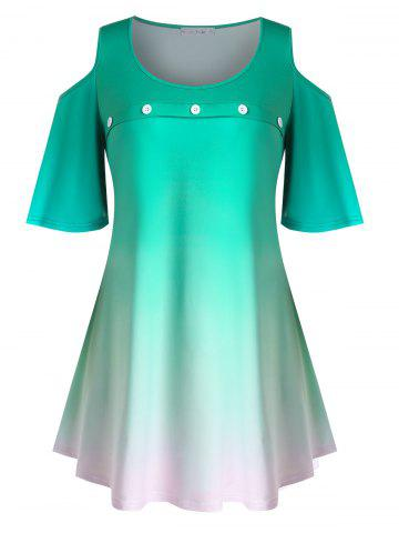 Plus Size Ombre Cold Shoulder Flutter Sleeve Tunic Tee - LIGHT SEA GREEN - 4X