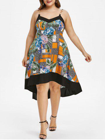 Plus Size Floral Print High Low Midi Dress - MULTI - 3X