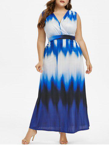 Plus Size Sleeveless Ombre Maxi Dress - MIST BLUE - L