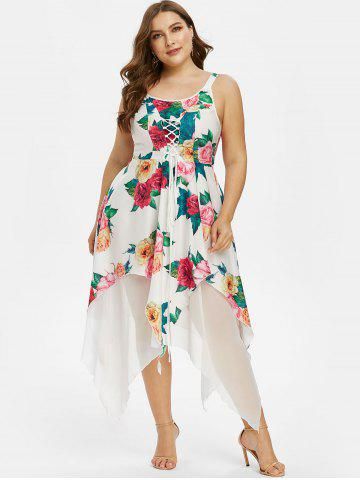 Plus Size Handkerchief Floral Print Lace Up Dress