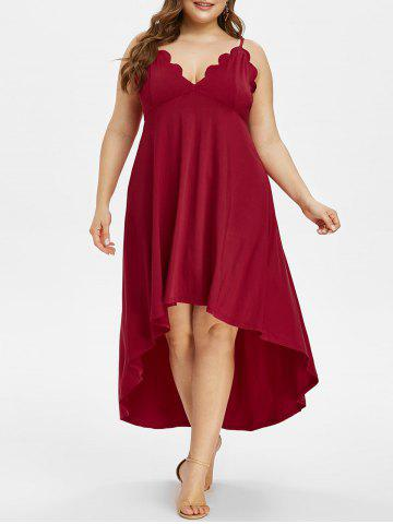 Plus Size High Low Scalloped Maxi Party Dress - RED WINE - L