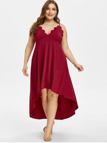 Plus Size High Low Scalloped Maxi Party Dress