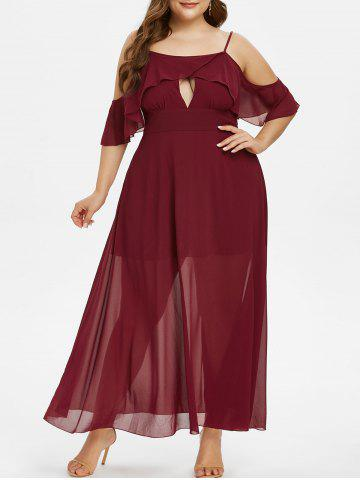 Plus Size Chiffon Keyhole Cold Shoulder Flounce Long Prom Dress - RED WINE - L