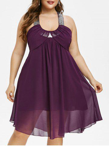 Plus Size Glitter Sequined Open Back Chiffon Dress - DARK ORCHID - L