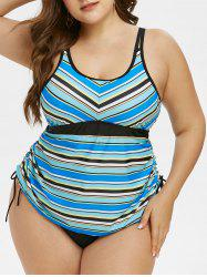 Plus Size Cinched Stripe Tankini Swimwear -
