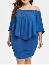Plus Size Exposed Shoulder Bodycon Dress with Ruched -