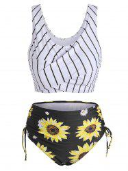 Striped Sunflower Cinched Twist Ruched Tankini Swimwear -