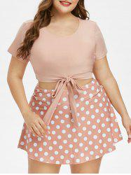 Plus Size Polka Dot Knotted Two Piece Skirted Swimwear -