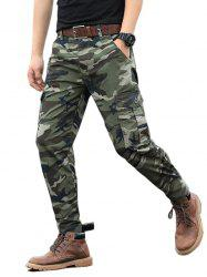 Camouflage Print Zip Fly Cargo Jogger Pants -
