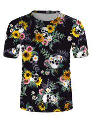 Sunflower Skulls Print Crew Neck Casual T Shirt -