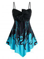 Plus Size Octopus Print Bowknot Ruched Backless Cami Top -
