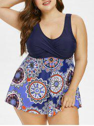 Plus Size Crossover Tribal Print One-piece Swimsuit -