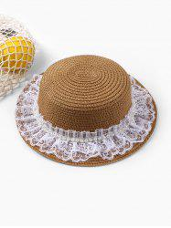Beach Faux Pearl Lace Straw Hat -