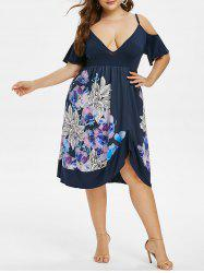 Floral Cold Shoulder Asymmetrical Plus Size Dress -