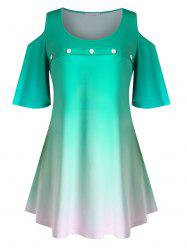 Plus Size Ombre Cold Shoulder Flutter Sleeve Tunic Tee -