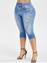 High Waisted 3D Print Plus Size Capri Jeggings -