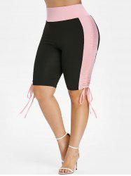 Plus Size Two Tone Cinched Shorts -