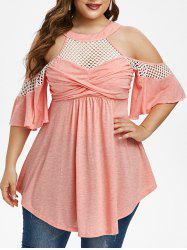 Plus Size Cold Shoulder Twist Fishnet Panel T Shirt -