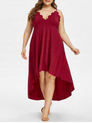 Plus Size High Low Scalloped Maxi Party Dress -