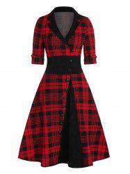 Plaid Print Mock Button Vintage Dress -