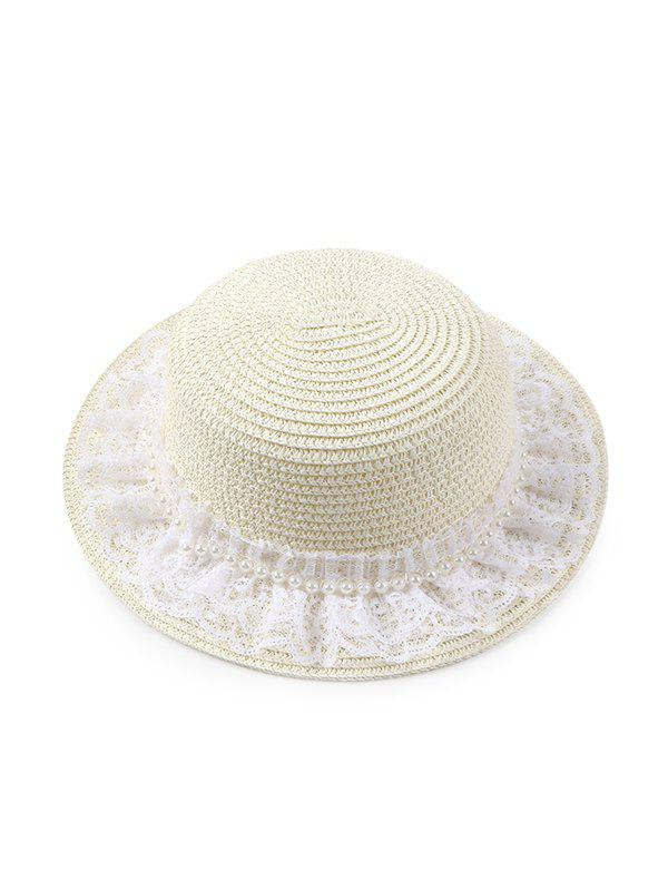 Trendy Beach Faux Pearl Lace Straw Hat