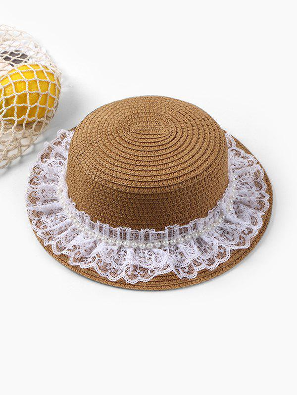 Outfit Beach Faux Pearl Lace Straw Hat