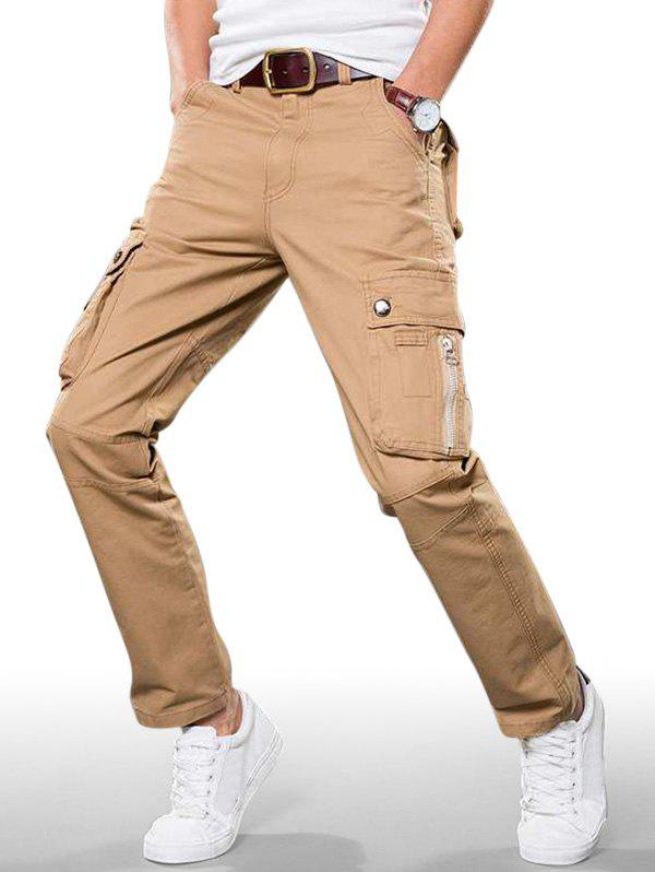 Store Plain Zip Fly Cargo Straight Pants