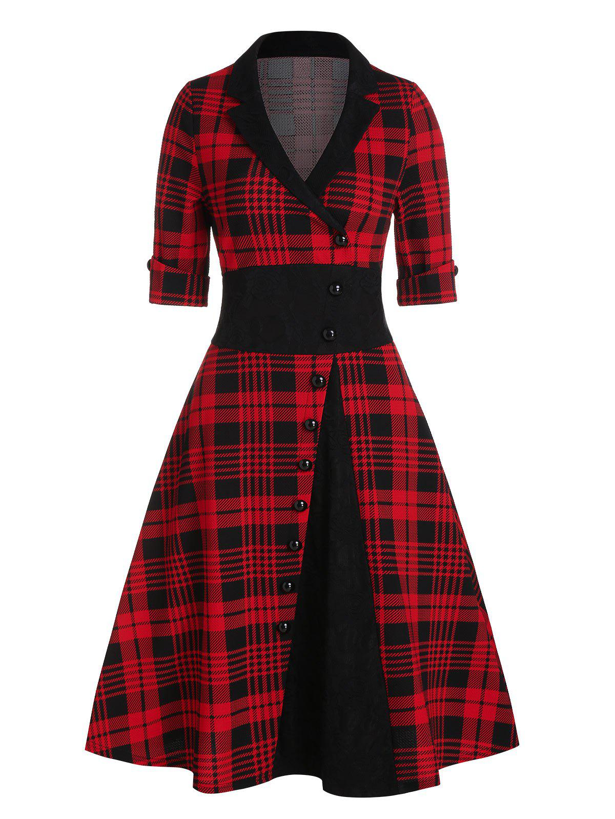 Outfit Plaid Print Mock Button Vintage Dress