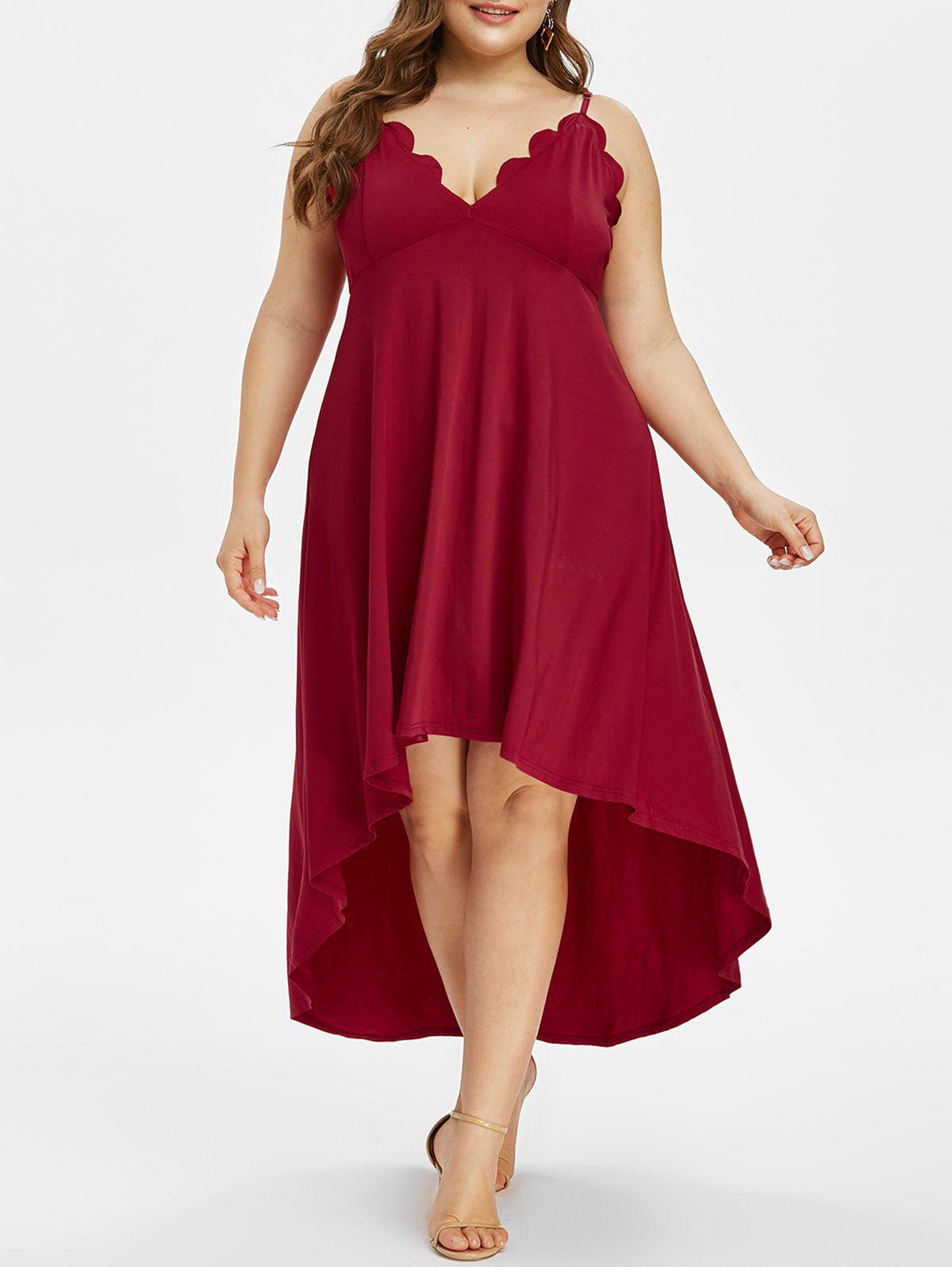 Fancy Plus Size High Low Scalloped Maxi Party Dress