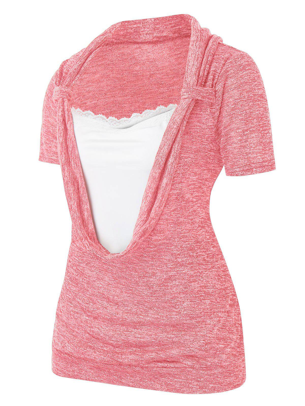 Trendy Plus Size Cowl Front Marled Lace Embellished T Shirt