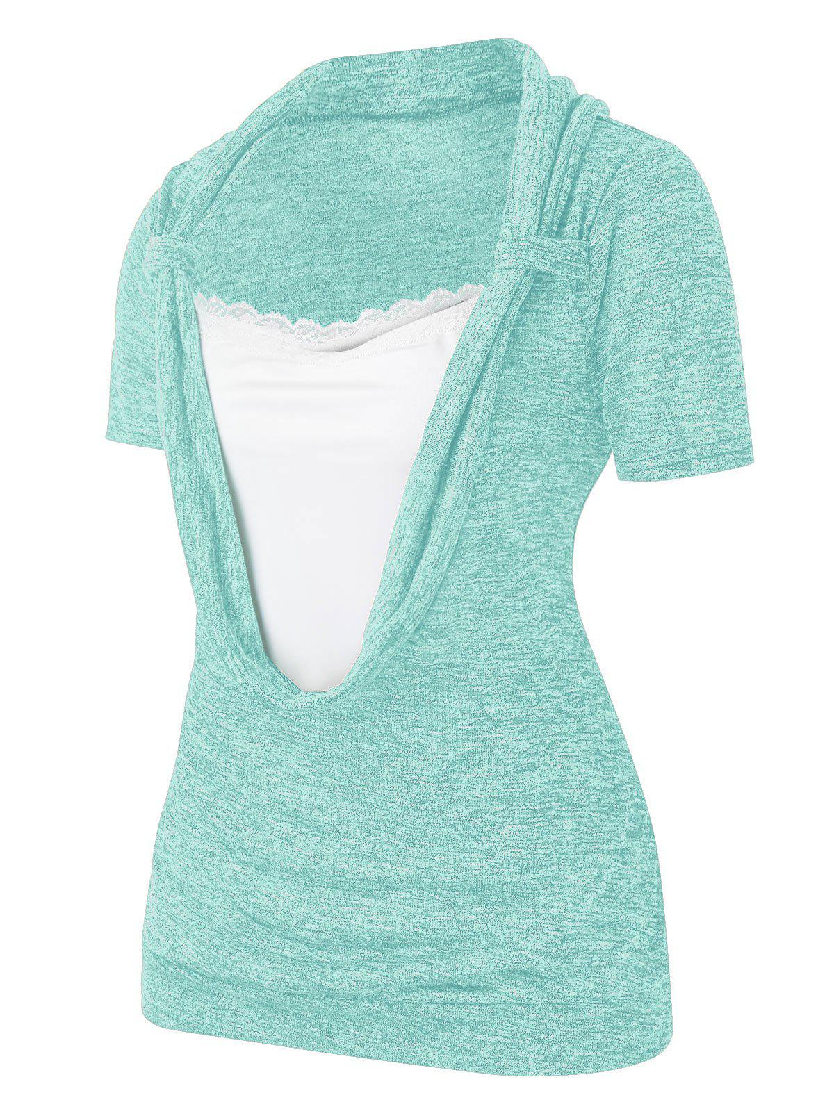 Plus Size Cowl Front Marled Lace Embellished T Shirt фото