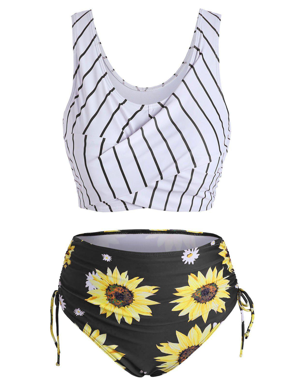 Fashion Striped Sunflower Cinched Twist Ruched Tankini Swimwear