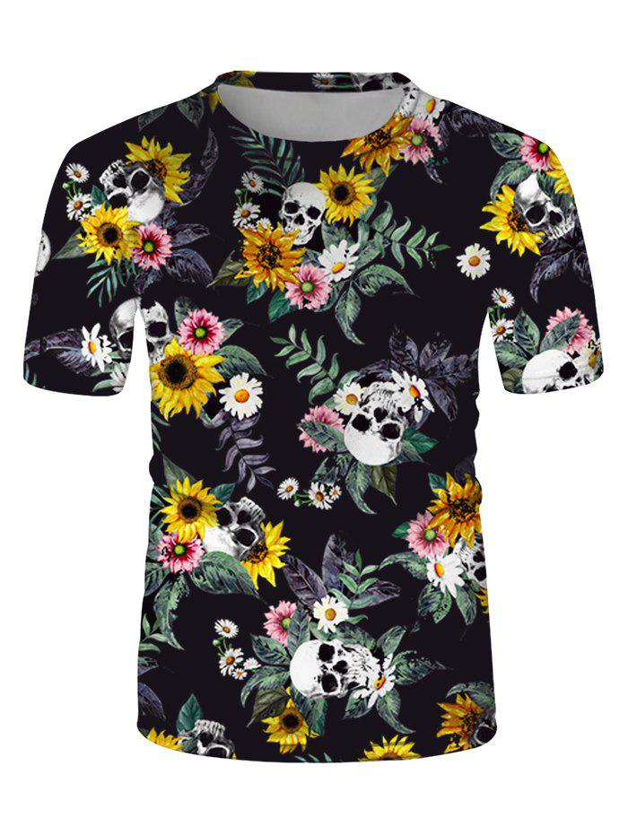Online Sunflower Skulls Print Crew Neck Casual T Shirt
