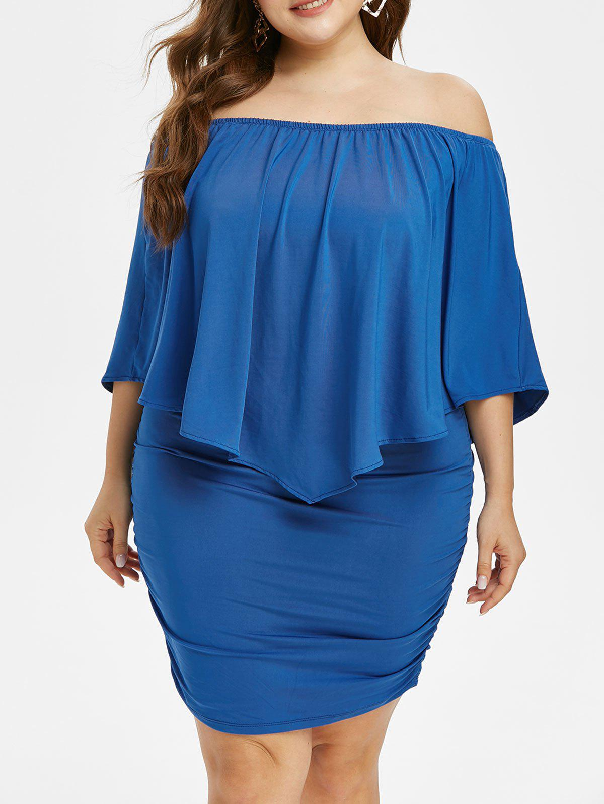 Buy Plus Size Exposed Shoulder Bodycon Dress with Ruched