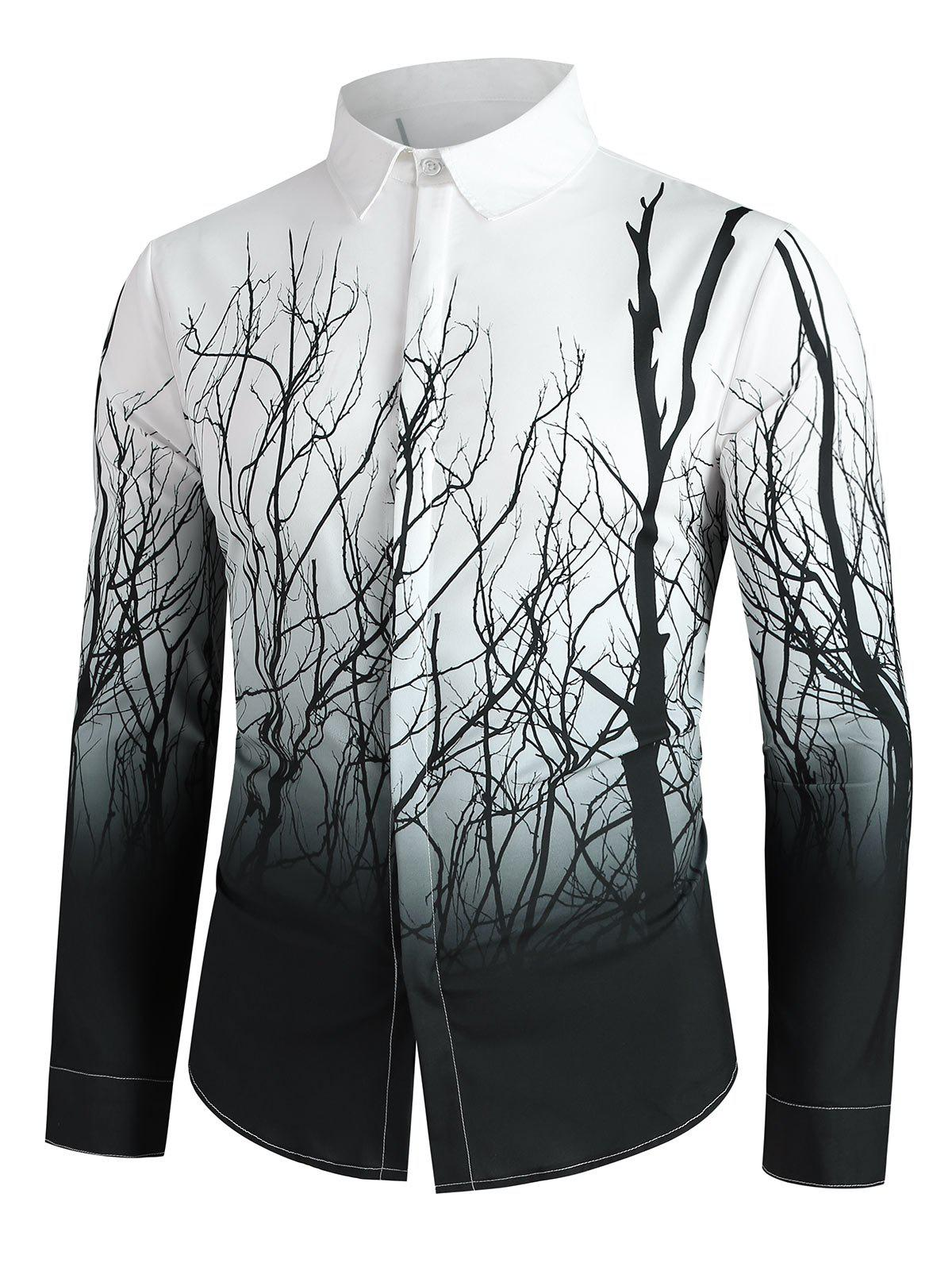 Outfits Tree Branch Print Button Up Long Sleeve Shirt