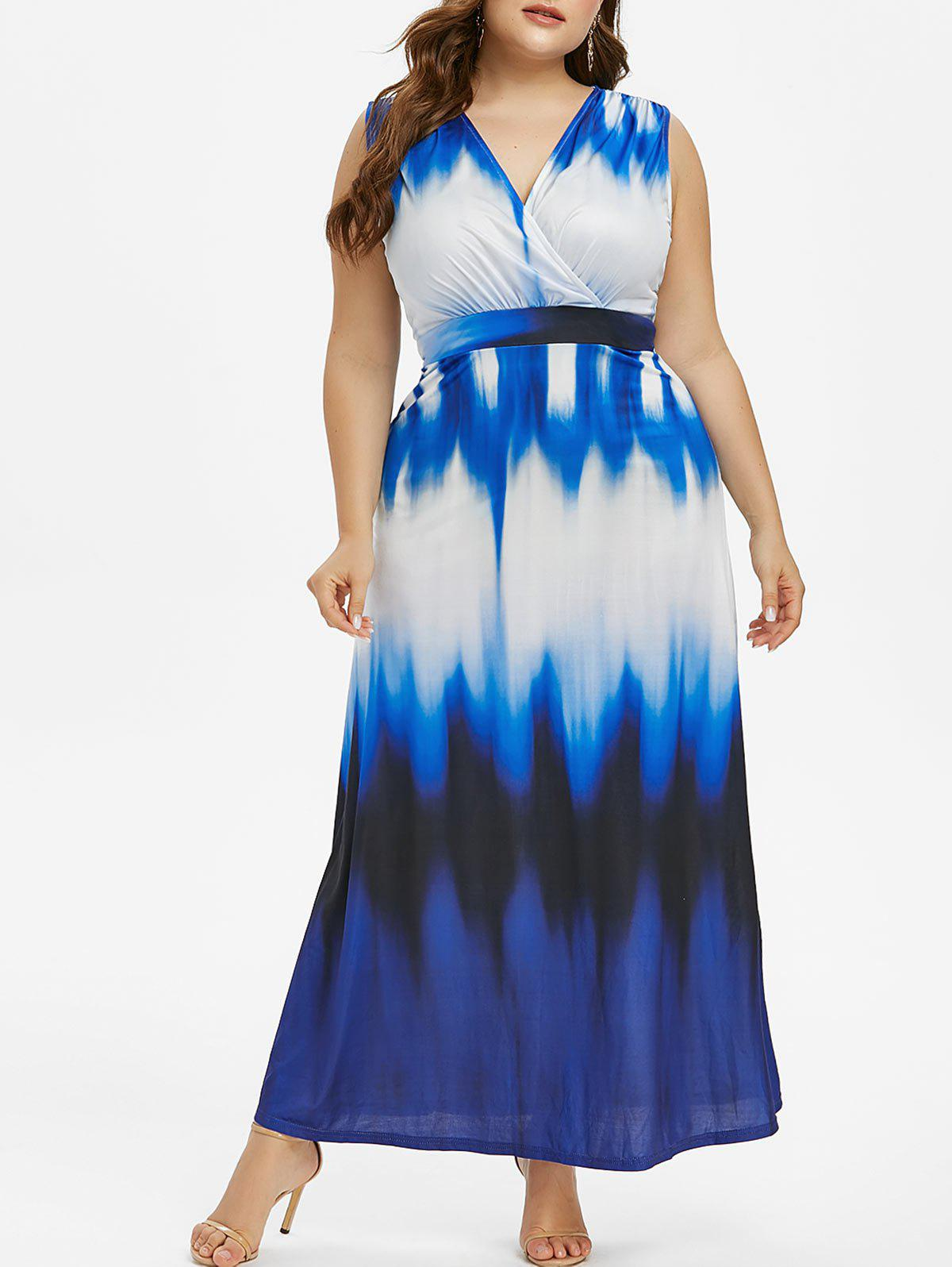 Cheap Plus Size Sleeveless Ombre Maxi Dress