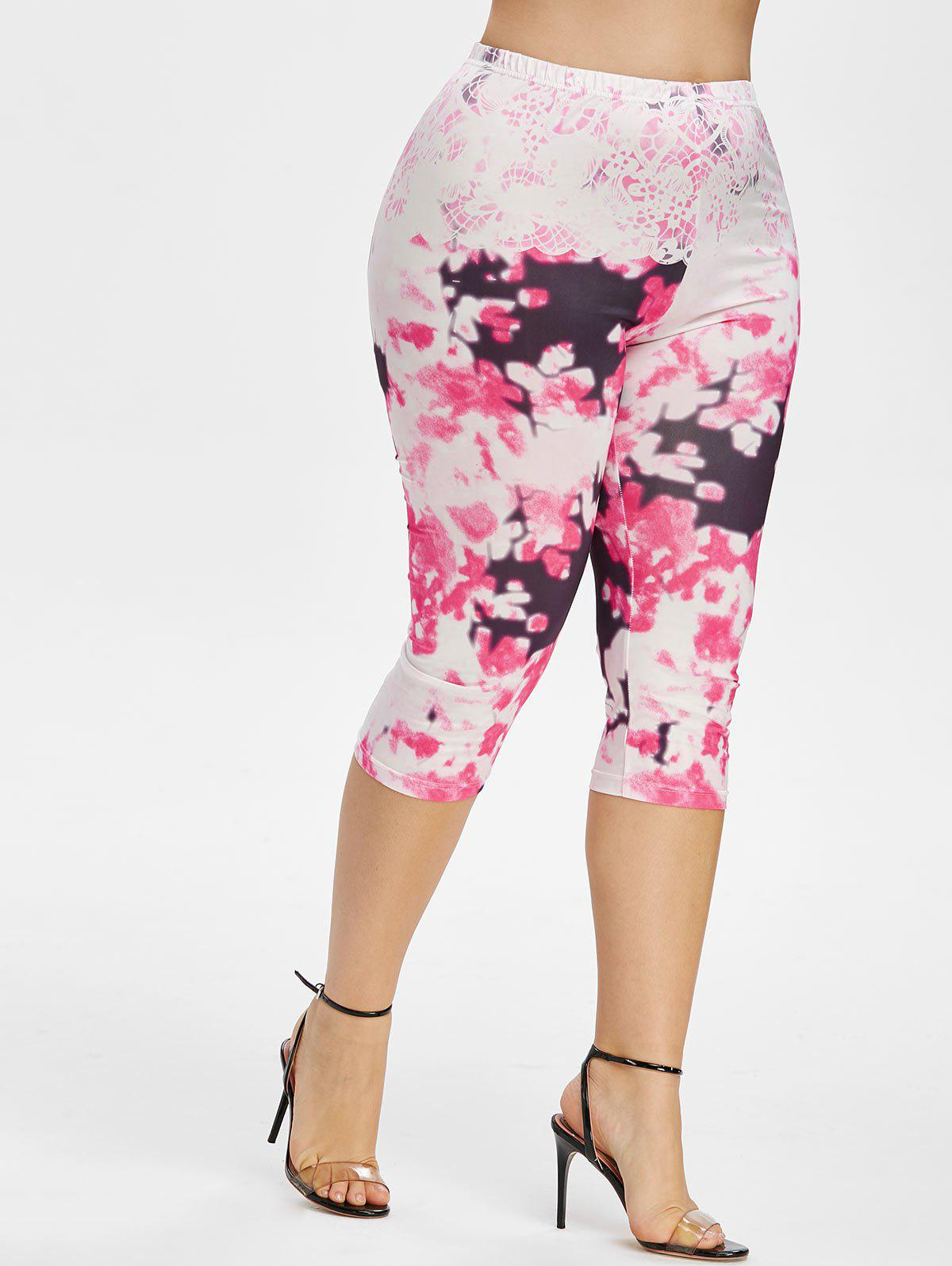 Plus Size High Rise Tie Dye Capri Leggings Rosegal