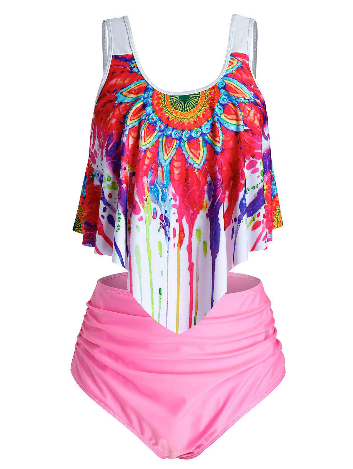 Best Plus Size Ruffle Splatter Paint Ruched Tankini Swimwear