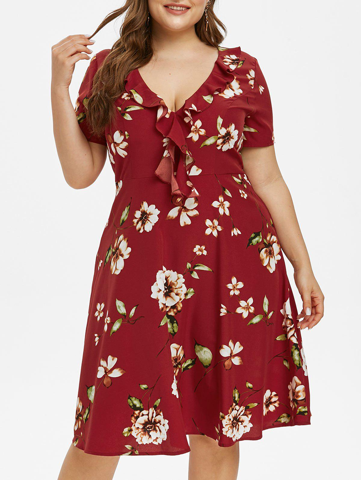 New Plus Size Flower Print Ruffle Plunge A Line Dress