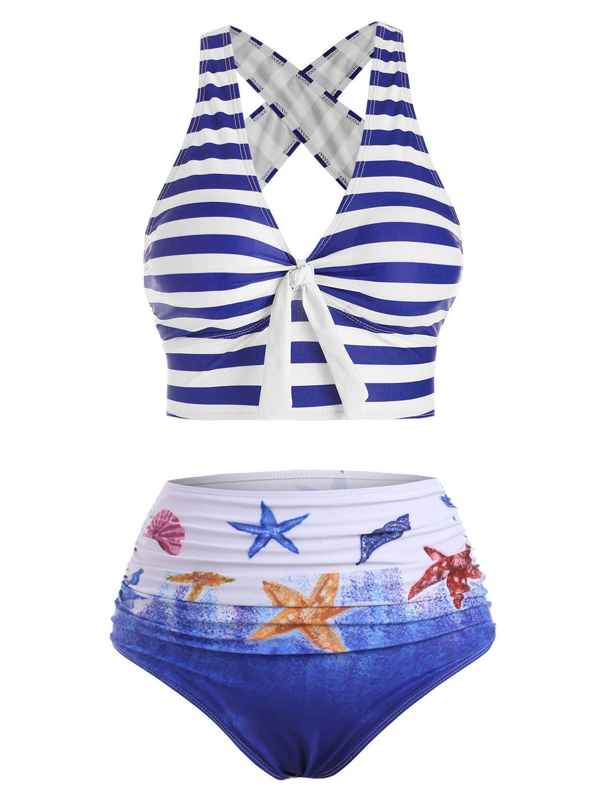 Outfits Striped Crisscross Plunging High Waisted Bikini Swimwear