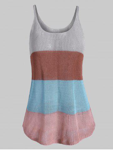 Knitted Colorblock Stripes Plus Size Tank Top