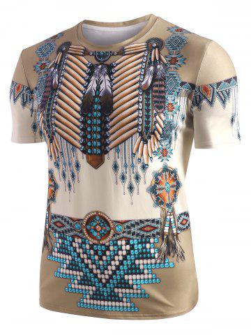 Tribal Indian 3D Print Casual T-shirt - ARMY BROWN - XL