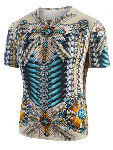 Tribal Indian 3D Print Graphic T-shirt - WARM WHITE - S
